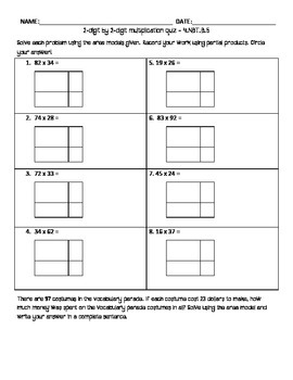 2-digit by 2-digit multiplication with area models QUIZ