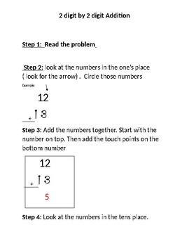 2 digit by 2 digit touch addition template and steps