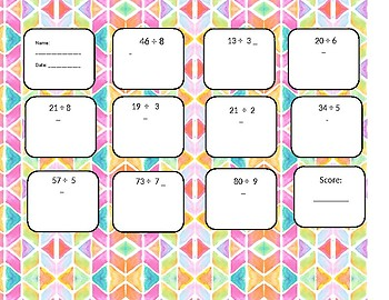 2-digit divided by 1-digit with remainders