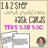 2 digit divisors and Multiplication Word Problem Task Cards (TEKS 5.3B 5.3C)