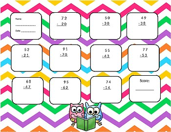 2-digit minus 2-digit subtraction with no regrouping