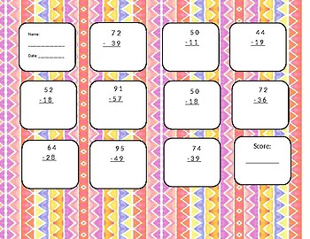 2-digit minus 2-digit with regrouping