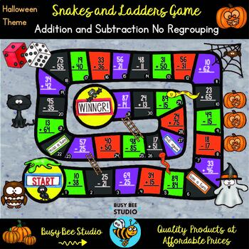 2-digit subtraction and addition without regrouping | Halloween Theme