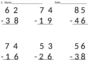 2-digit subtraction with regrouping cut-n-paste