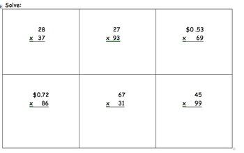 2 digit x 2 digit Multiplication Quiz