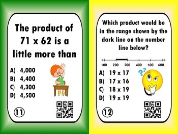 2-digit x 2-digit Multiplication Task Cards with QR Codes