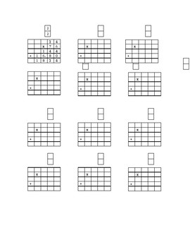 2 digit x 2 digit multiplication template