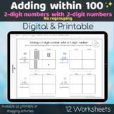 2 digits and 2 digits number Adding within 100 Digital and Printable worksheets