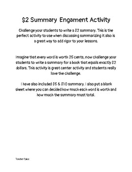 2 dollar Summary Engagement Activity