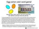 2 egg theme color word activities