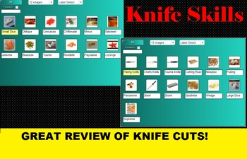 2 in 1 Knife Skills Bingo & SMARTboard Selector or No-Tech Version Culinary FACS