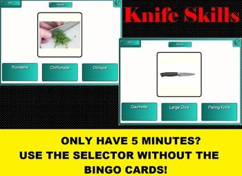 2 in 1 Knife Skills Bingo & SMARTboard Selector or No-Tech