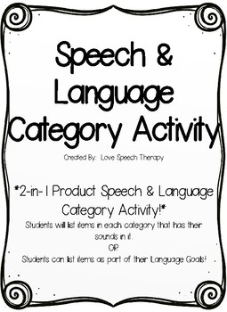 2-in-1 Speech & Language Category Activity