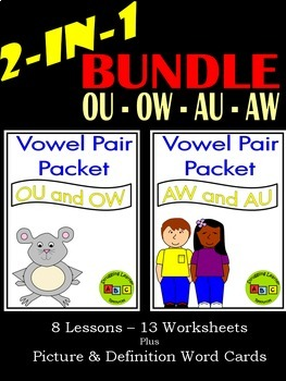 2-in-1 Vowel Pair Packet BUNDLE - OU - OW - AU - AW