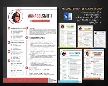 2 in 1 modern photo teacher resume template, easy edit tea