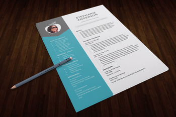 2 in 1 modern photo teacher resume template for MS PowerPoint, PPTR13
