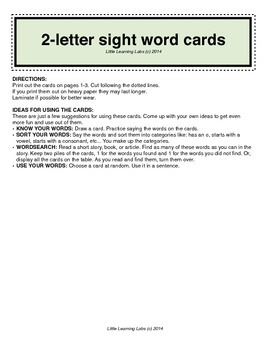 2-letter vocabulary spelling sight words cards for prek primary kindergarten