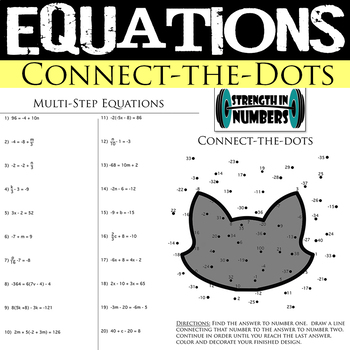 2, multi-step Equations Halloween Connect the Dots Cat Interactive Notebook