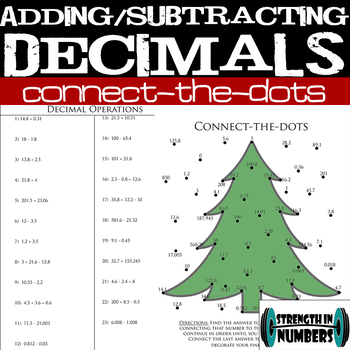 Adding Subtracting Decimals Connect Dots Christmas Tree Interactive Notebook