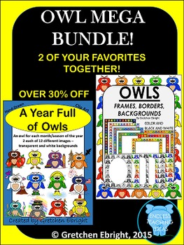 OWL MEGA BUNDLE! - 2 Favorites! Clip Art, Frames, Borders and Backgrounds