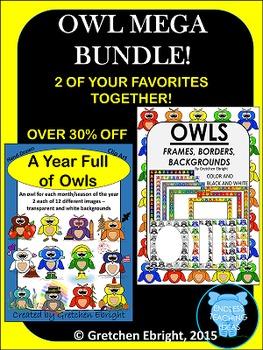 OWL MEGA BUNDLE! - 2 Favorites! Clip Art, Frames, Borders