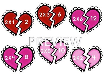 2's Multiplication File Folder- Hearts