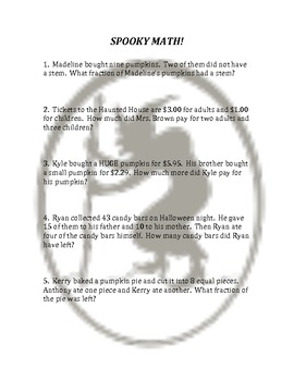 2-step Halloween Math Story problems