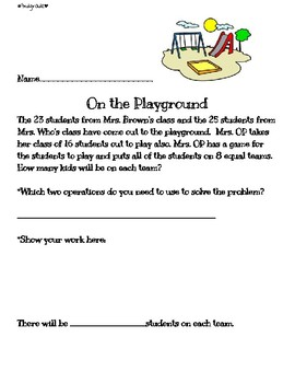 2 step addition and division word problem