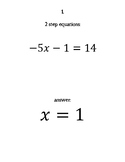 2 step equation Scavenger Hunt
