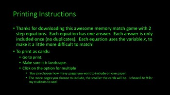 2 step equation memory match