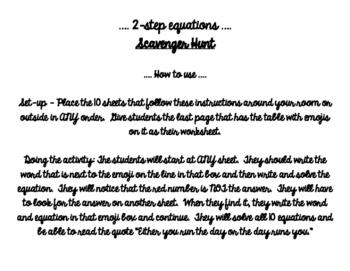 2 step equations - A scavenger hunt!