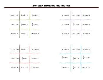 2 step equations Tic Tac Toe Game