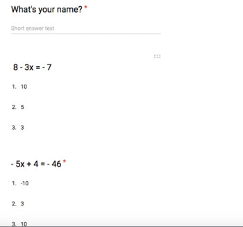 2-step equations quiz in Google Forms...(10 problems grade
