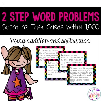 2 step word problem scoot task cards using addition and subtraction!