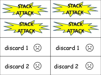 "2 syllable words (with suffixes) ""Stack Attack"" card game"