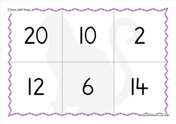 Math game: 2 times table bingo