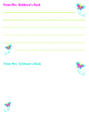 2-up horizontal butterfly memo pads to personalize