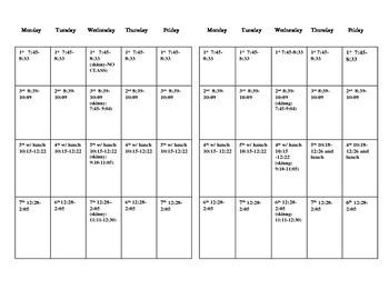 2 week Schedule for Block Scheduling