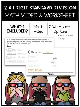 2 x 1 Digit Standard Division Math Video and Worksheet