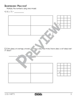 2 x 2 Area Model Multiplication Math Video and Worksheet