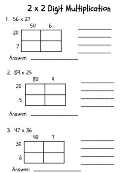 2 x 2 Digit Box Multiplication