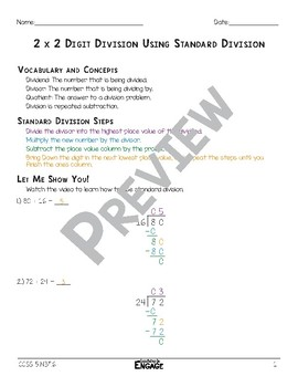 2 x 2 Digit Division Using Standard Division Math Video and Worksheet