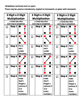 2 x 2 Digit Multiplication Bookmark Visual Aid Multiply Step by Step