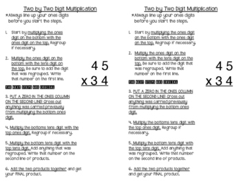 2 x 2 Digit Multiplication Journal Notes