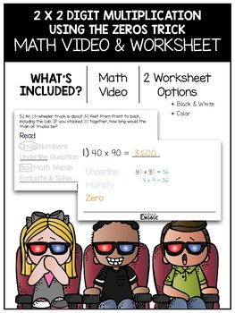 2 x 2 Digit Multiplication Using the Zeros Trick Math Video and Worksheet