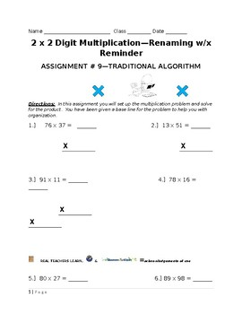 2 x 2 Digit Multiplication W/Renaming & Limited Template
