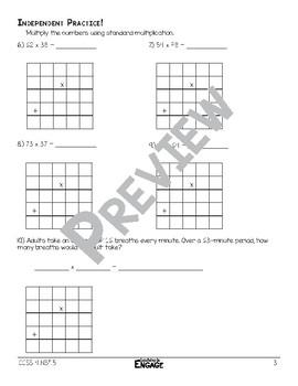 2 x 2 Digit Standard Multiplication Math Video and Worksheet