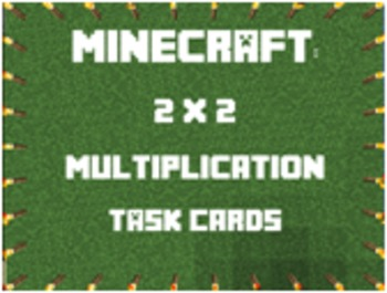 2 x 2 Minecraft Multiplication Task Cards Answer Key & Game Board Included CCSS