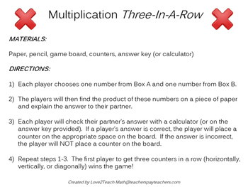 2 x 2 Multiplication Three-In-A-Row Game
