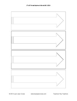 """2"""" x 6"""" Printable Bookmark Blanks w/ Arrow For Writing & Art Projects"""